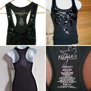 Miley Cyrus Black racerback Sequin Tank Top